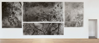 GLIMMEN – Unland-Triptychon / Charcoal drawing on paper / 370 × 960 cm (total size) / 2016 (work scholarship granted by the Arts Foundation of the Federal State of Saxony-Anhalt, sponsored by Kloster Bergsche Foundation)
